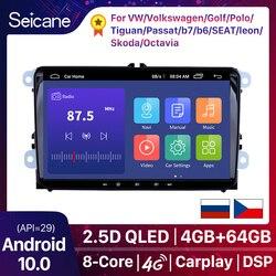 Автомобильный мультимедийный плеер Seicane, проигрыватель на Android 10, с GPS, для Volkswagen, Golf, Polo, Tiguan, Passat b7, b6, SEAT, leon, Skoda Octavia, типоразмер 2DIN