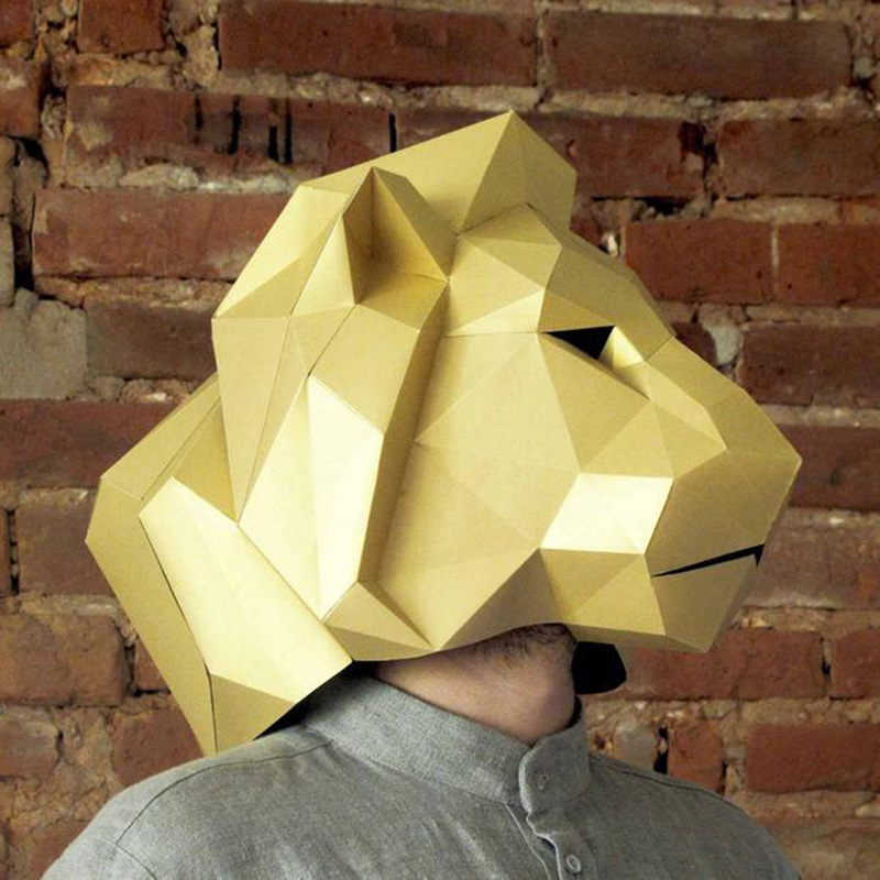 3D Paper Puzzle Lion Helmet Masquerade Mask DIY Creative Gift Parent Child Developmental Toys