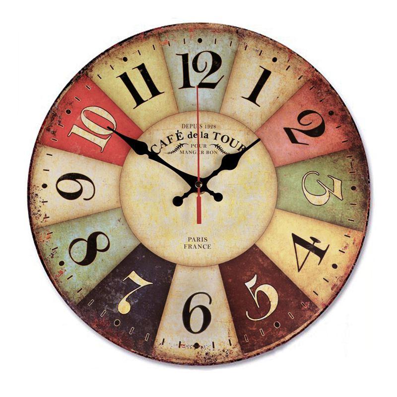 12 Inch Retro Wooden Wall Clock Farmhouse Decor, Silent Non Ticking Wall Clocks Large Decorative - Big Wood Atomic Analog Batter