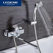 LEDEME nowoczesny styl 1 zestaw wanna do łazienki kran mosiądz chromowany zimna i ciepła mieszacz wody chrom prysznic kran z pojedynczym zaworem L2254