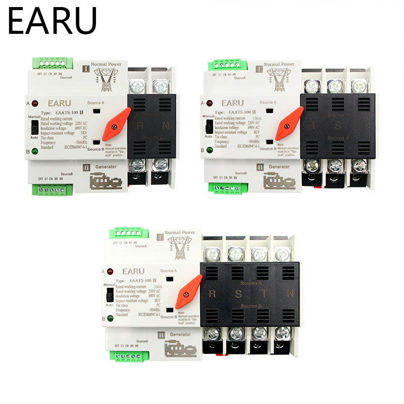 2/3/4P 100A 110V/220V Mini ATS Automatic Transfer Switch Electrical Selector Switches Dual Power Switch PV Solar Energy Din Rail