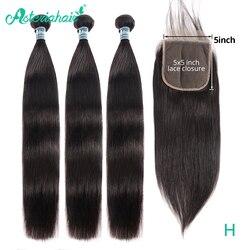 Asteria-mechones de pelo lacio con cierre de encaje 5x5, pelo brasileño ondulado, 3 mechones con cierre, extensión de cabello Remy NaturalBlack