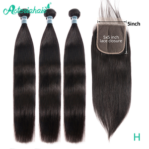 Asteria Straight Hair Bundles With 5x5 Lace Closure Brazilian Hair Weave 3 Bundles With Closure NaturalBlack Remy Hair Extension(China)