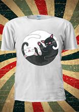 Cute Cats Ying Yang Tai-Chi Balance Tumblr Fashion T Shirt Men Women Unisex 1743 Comfortable t shirt,Casual Short Sleeve TEE(China)