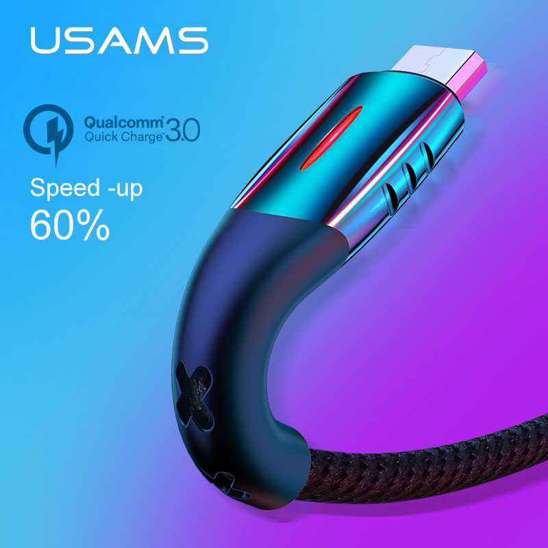 USAMS Micro USB Cable Smart Power off Micro USB 3.0 LED cable QC 3.0 fast charger cable for Android Xiaomi Huawei Microusb cable|Mobile Phone Cables| |  - AliExpress