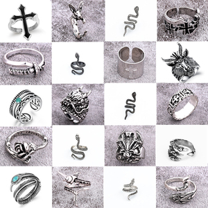 1PC Hot Punk Gothic Snake Cross Male Ring Hip Hop Vintage Silver Animals Feather Dragon Free Open Ring Women Men Jewelry Bijoux(China)