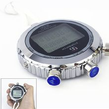 OOTDTY Silent Stopwatch with Countdown Timer 1/100s Accuracy Large Display Stainless Steel Digital Sports Memory Stopwatch