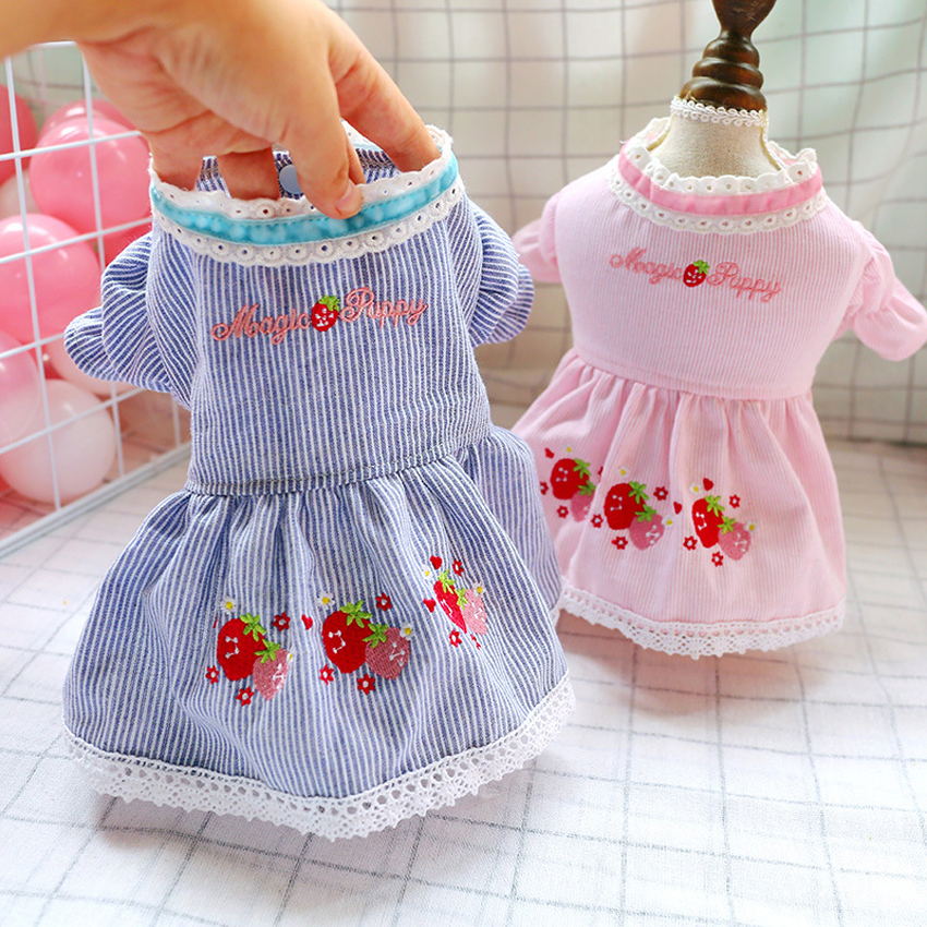 Dog Clothes Prom Dresses Strips Short Cat Dress Spring Summer Strawberry Skirt Tutu Dress For Small Dogs Cats for Small Medium