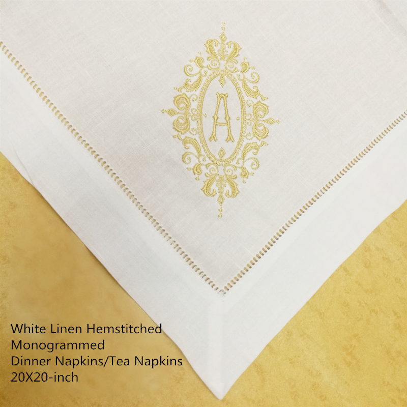 Set Of 12 Fshion Table Napkins White Linen Hemstitch Dinner Napkins 20x20-inch Ladder Embroidered Initial Tea Napkins