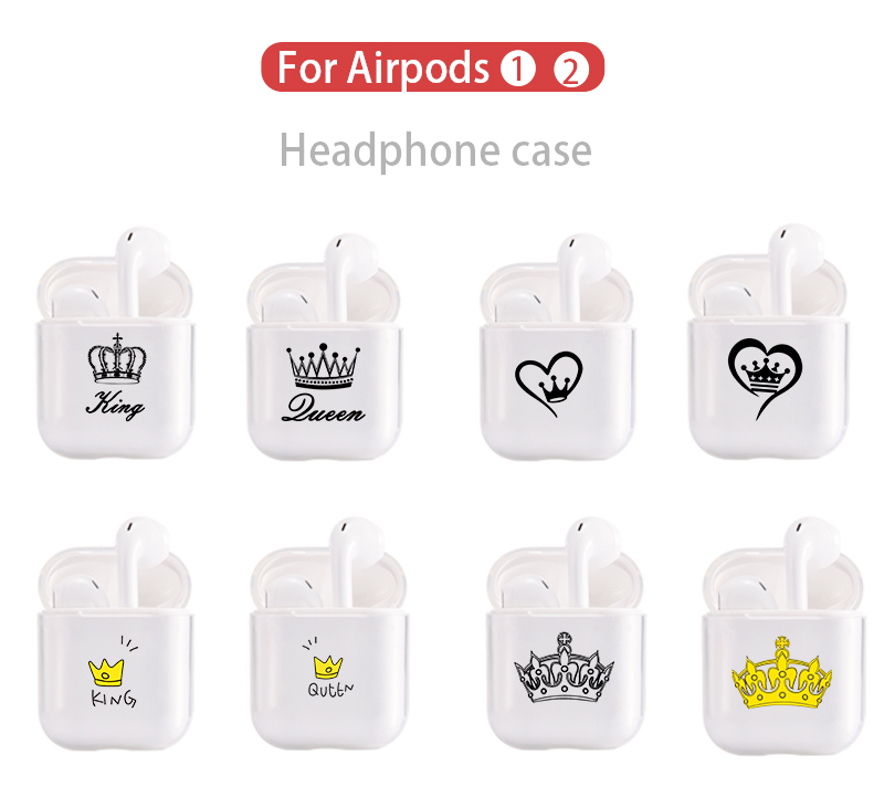 Cute Air Pods Case For Apple Airpods Case Luxury King Queen Crown Bluetooth Earphone Case For Airpods 2 Transparent Hard PC Case
