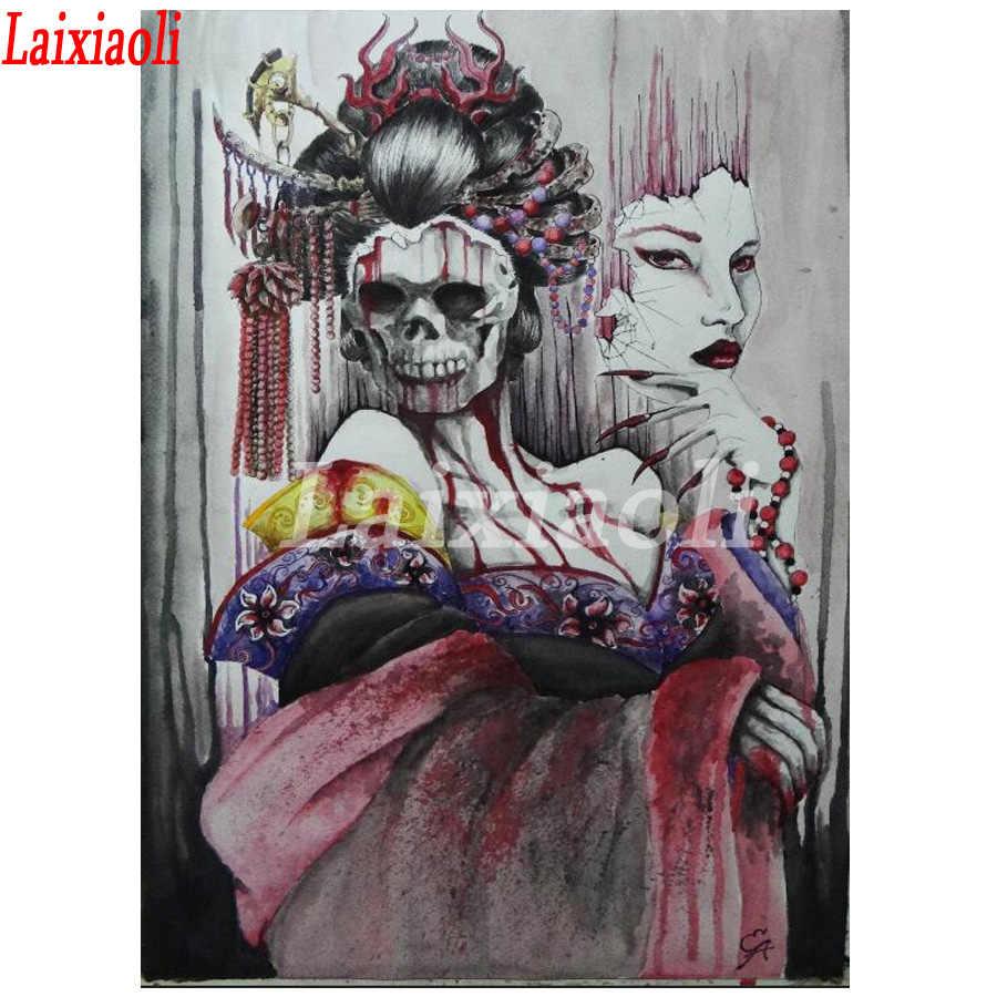 5d pintura diamante quadrado broca completo máscara de terror crânio com a beleza do ponto da cruz 3d bordado de strass mosaico decoração do dia das bruxas