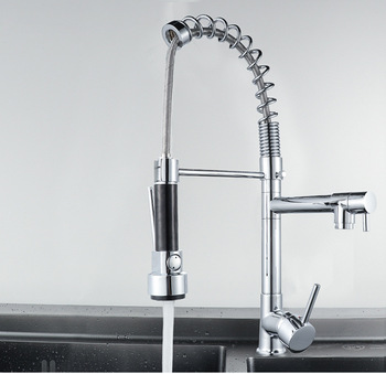 Faucet Kitchen  Pull Down Kitchen Sink Faucet Solid Brass Swivel Pull Out Spray Gooseneck Cold & Hot Water Mixer Tap Single Hole chrome spring pull down spray kitchen sink faucet single handle one hole mixer tap