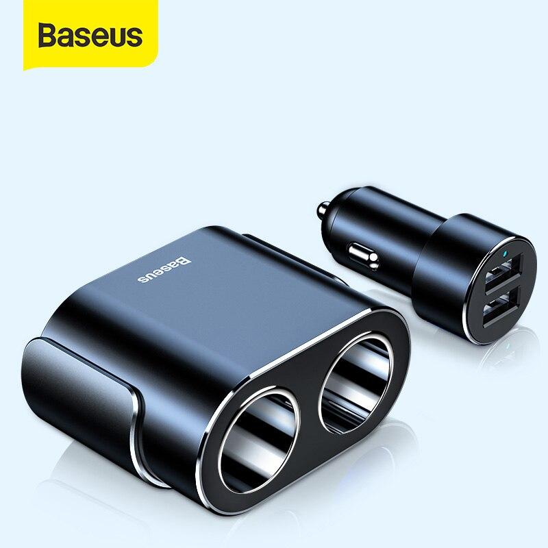 Baseus Car Cigarette Lighter Socket Splitter 12V-24V Dual USB Car Charger 100W Car Auto Splitter Power Adpater For Car USB HUB