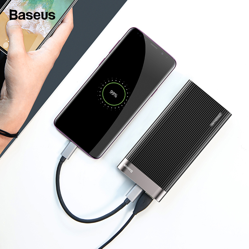 Baseus 20000mAh Power Bank LED Display Quick Charge 3.0 Dual USB Type-C PD Output Fast Charging External Battery Pack Powerbank