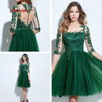 Green Lace Short Cocktail Dresses Plus Size Lace Semi Formal Graduation Prom Party Homecoming Dresses