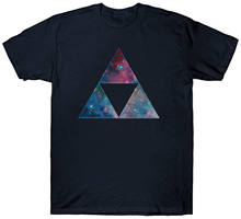 TRIFORCE T SHIRT TOP ANCIENT MAGICAL SYMBOL ZELDA COSMIC SPACE GALAXY STARS Cartoon Print Short Sleeve T Shirt Free Shipping(China)