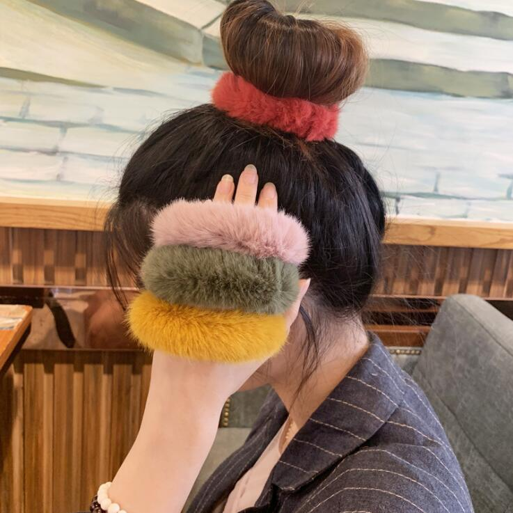 Fashion Fluffy Faux Fur Furry Wool Scrunchie Hair Ring Hair Rope Elastic Band Hair Tie Hair Accessories