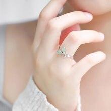 S925 srebrny pierścionek z bohimia moda otwarty pierścień świeży liść pierścień nowoczesna biżuteria kobiet prezenty hurtowych