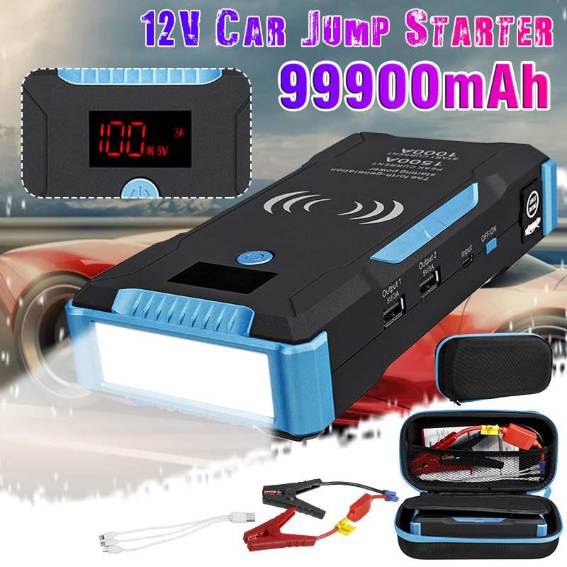 Автомобильный стартер Power Bank 99900mAh 1500A Автомобильный Аккумулятор Booster Зарядное устройство 12V пусковое устройство бензиновый дизельный старт... title=