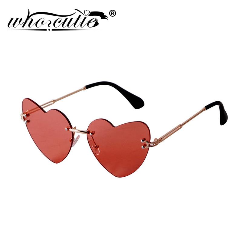 Rimless Vintage Cat Eye Sunglasses Women 2020 Brand Design Red Love Heart Shaped Frame 90S Sun Glasses Tint Lens Shades S367