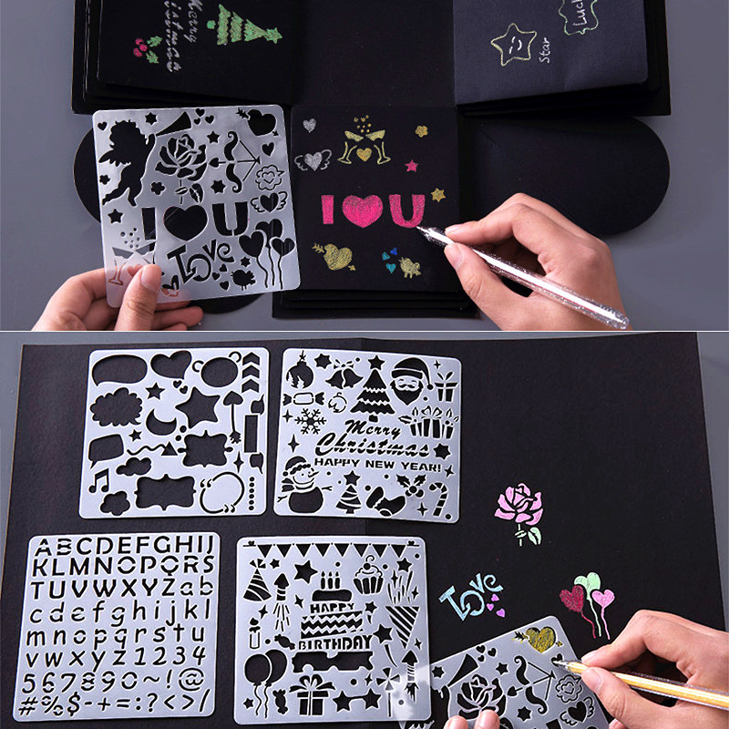 BalleenShiny 5pcs Painting Tool Kids Toys Stenciled Template DIY Scrapbooking Coloring For Diary Album Child Educational Toys