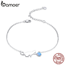 bamoer Authentic 925 Sterling Silver Naughty Pussy Cat Opal Link Bracelet for Women Luxury Fine Jewelry Female Gifts SCB175