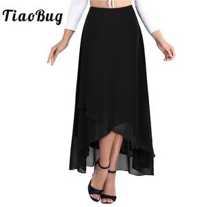 Image 1 - TiaoBug Elegant High Waist Tulip Hem Solid Color Ballroom Party Women Maxi Long Chiffon Skirt Contemporary Lyrical Dance Wear