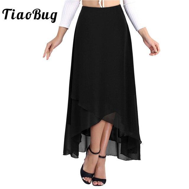 TiaoBug Elegant High Waist Tulip Hem Solid Color Ballroom Party Women Maxi Long Chiffon Skirt Contemporary Lyrical Dance Wear