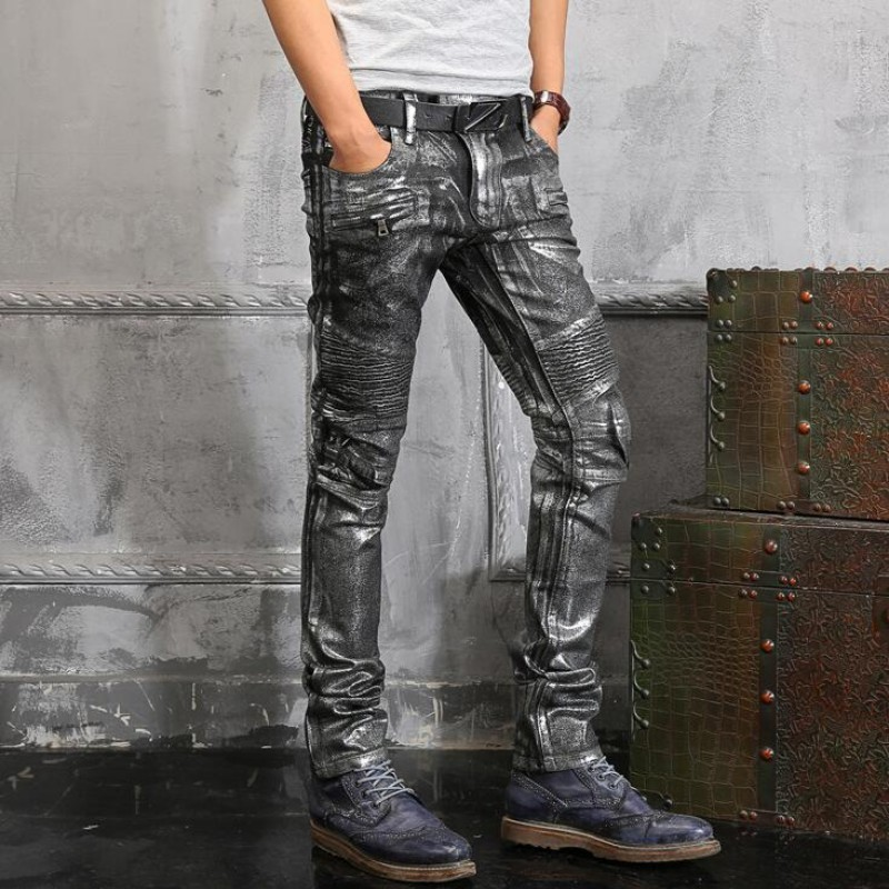 New Top Quality Spring New Fashion Mens Punk Silver Paint Pants Slim Fit Long Mid Waist Skinny Jeans Causal Trousers Size 28-42