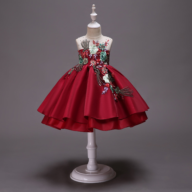 Girl'S Gown Embroidery Skirt Bow Cute Dress Puffy Silk Fabrics Princess Dress Party Performance Formal Dress
