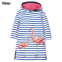VIKITA Kids Girls Dress Autumn Winter Kids Hooded Dresses for Girl Costumes Children Striped Dress Baby Girl Long Sleeve Clothes fhadst new striped patchwork character girl dresses long sleeve cute mouse children clothing kids girls dress denim kids clothes
