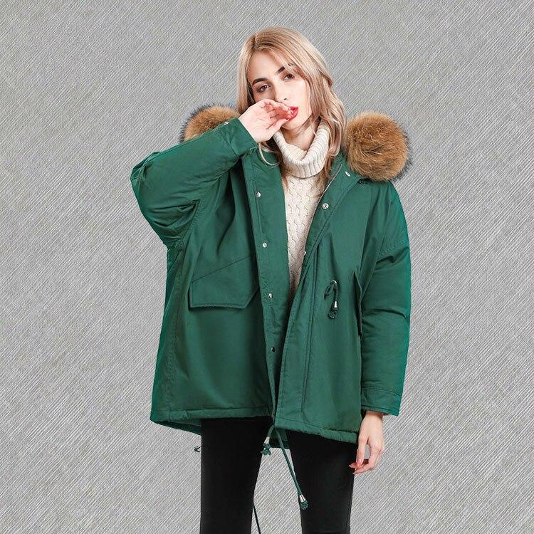 2020 New Winter Women's Down Jacket Korean Coat Woman Racoon Fur Hooded Down Jackets Loose Parka Chaquetas Mujer KJ718