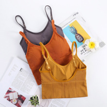 Tops Lingerie Stretchable T-Shirt-Bra Tank-Top Chest-Pad Backless Yellow-Color Sexy Cotton