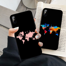 GYKZ World Map Travel Just Go Phone Case For iPhone XS MAX X XR 7 8 6 6s Plus Fashion Black Silicone Soft Back Cover Matte Coque