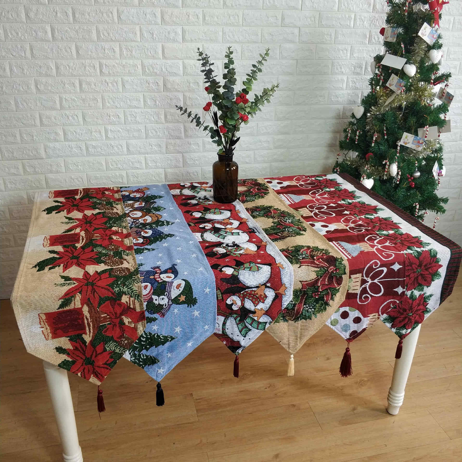 1pc 33x180 Cm Christmas Table Runner Mat Tablecloth Christmas Flag Home Party Table Decoration For Christmas Table Runner Table Runners Aliexpress