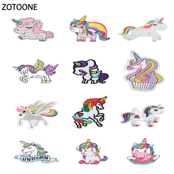 ZOTOONE Iron on Transfer Cute Animal Patches for Kids Clothes DIY T-shirt Applique Heat Transfer Vinyl Unicorn Patch Stickers E image