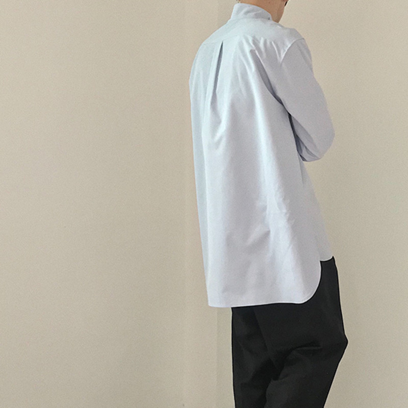 IEFB /men's wear loose korean trendy stand collar long sleeve shirts vent hme loose casual all-match white tops 2020 new 9Y1480 6