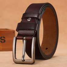 Men Belts Buckle Large-Pin Genuine-Leather Male Plus-Size for 110 120 130 140 150-160