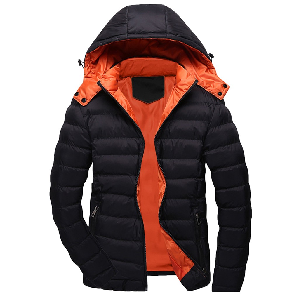 Streetwear Coat Men Casual Winter Solid Warm Hooded Zipper Long Sleeve Jacket Coat Outwear Tops  Doudoune Homme Abrigos Hombre