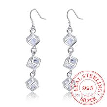 Wholesale 925 Sterling Silver Earring,Wedding Jewelry Accessories,Fashion Whitehead Checkered Long Drop Earrings for Women 2020(China)