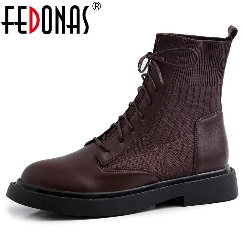 FEDONAS New Patchwork Genuine Leather Knitting Short Boots Women Ankle Boots Office Shoes Woman 2020 Winter Warm High Heels-in Ankle Boots from Shoes