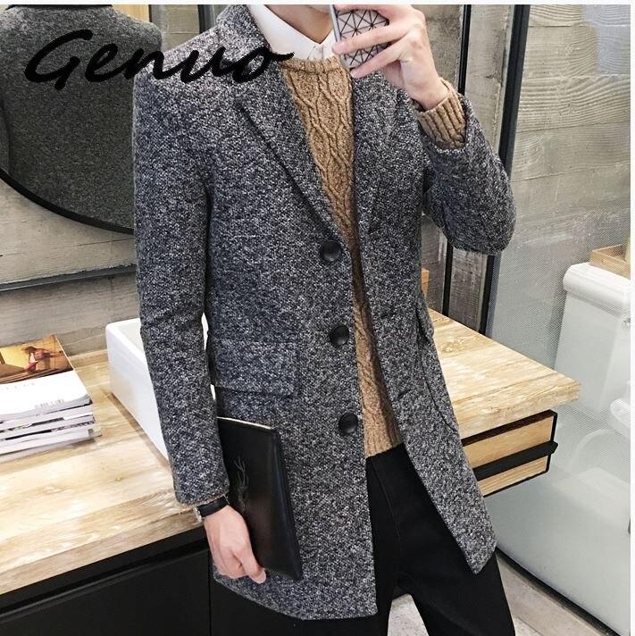 Véritable nouveau 2019 hiver nouveau hommes de mode Boutique porter décontracté affaires laine Long manteau/hommes pardessus gris hommes vestes décontractée