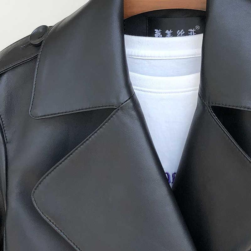 Inter Hitam Plus Ukuran Jaket Kulit untuk Wanita Lengan Panjang Tanda Pangkat Notched Lapel Double Breasted Wanita Jaket Kulit 5xl