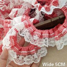 5cm de largura novo vermelho branco xadrez plissado rendas 3d flores bordadas fita plissado guarnição diy roupas acessórios para o cabelo casa costura
