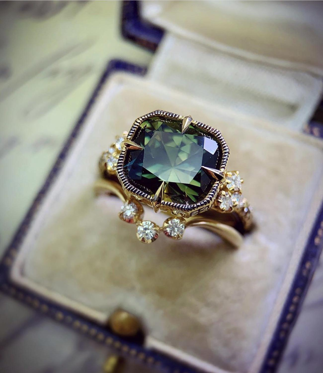 Luxury Female Green Crystal Stone Ring Classic Gold Silver Color Engagement Ring Set Cute Zircon Square Wedding Rings For Women|Engagement Rings|   - AliExpress