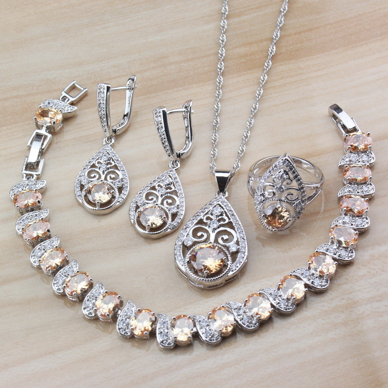 Jewelry-Sets 925-Sterling-Silver Cubic-Zirconia Vintage Women 4PCS Party for Free-Gift-Box