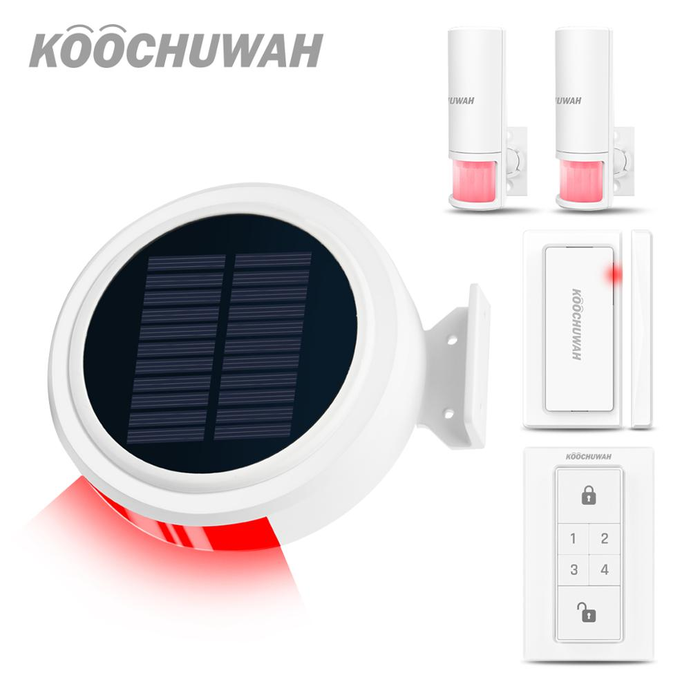 KOOCHUWAH Wireless GSM Alarm System For Home Outdoor Solar Alarm Smartphone Remote Control SMS Notice Dialing Call Home Security