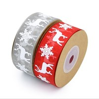 Hot sale two color 5m wide 2.5cm Printed Christmas decoration snow yarn with birthday gift wrap holiday snow deer red ribbon