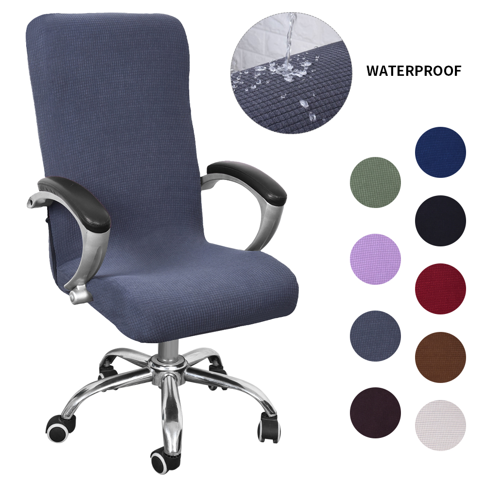 Waterproof Elastic Chair Covers Anti-dirty Rotating Stretch Office Computer Desk Seat Chair Cover Removable Slipcovers S/M/L