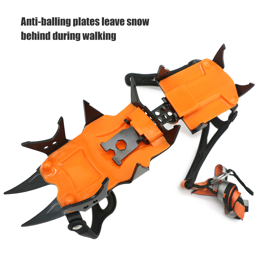 14 Teeth Ice Crampons Winter Snow Boot Shoes Ice Gripper Anti-skid Ice Spikes Snow Traction Cleats Outdoor Sports Steel  TPU